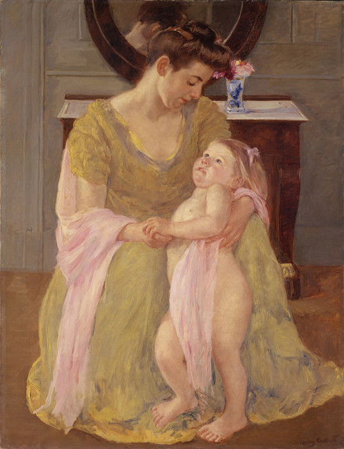Art Prints of Mother and Child with a Rose Scarf by Mary Cassatt