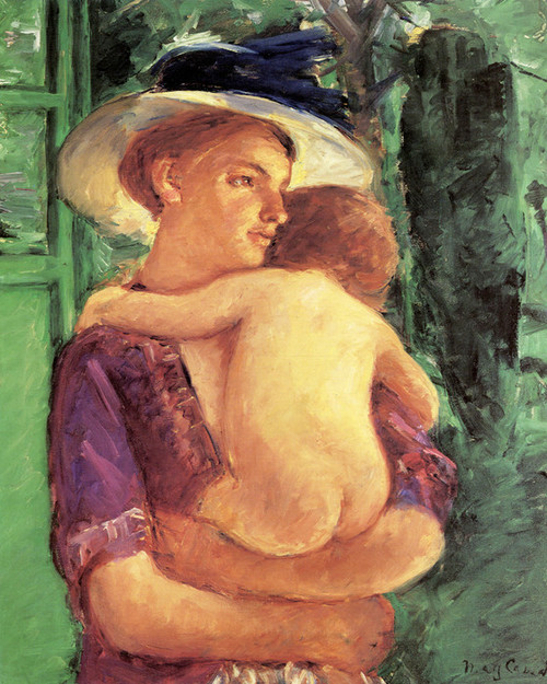 Art Prints of Mother in Large Hat Holding Her Nude Baby by Mary Cassatt