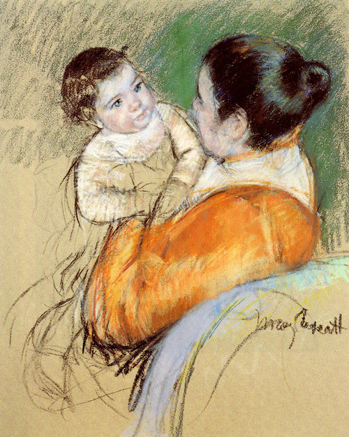 Art Prints of Mother Louise Holding Up Her Blue Eyed Child by Mary Cassatt