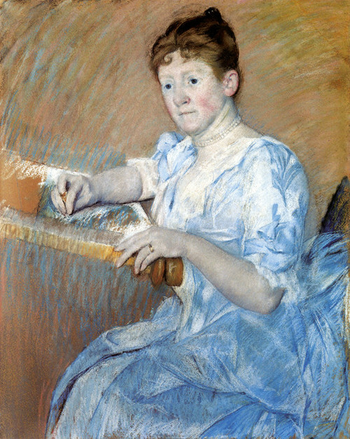 Art Prints of Mrs. Alexander Cassatt in a Blue Evening Gown by Mary Cassatt