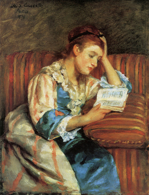 Art Prints of Mrs. Duffee Seated on a Striped Sofa Reading by Mary Cassatt