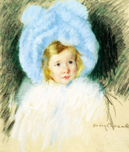 Art Prints of Simone in a Blue Plumed Hat by Mary Cassatt