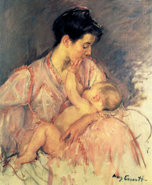 Art Prints of Sketch of Mother Jeanne Nursing Her Baby by Mary Cassatt