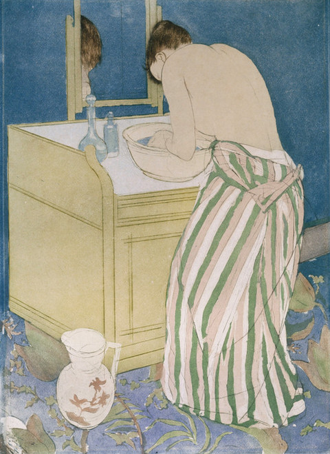 Art Prints of Woman Bathing by Mary Cassatt