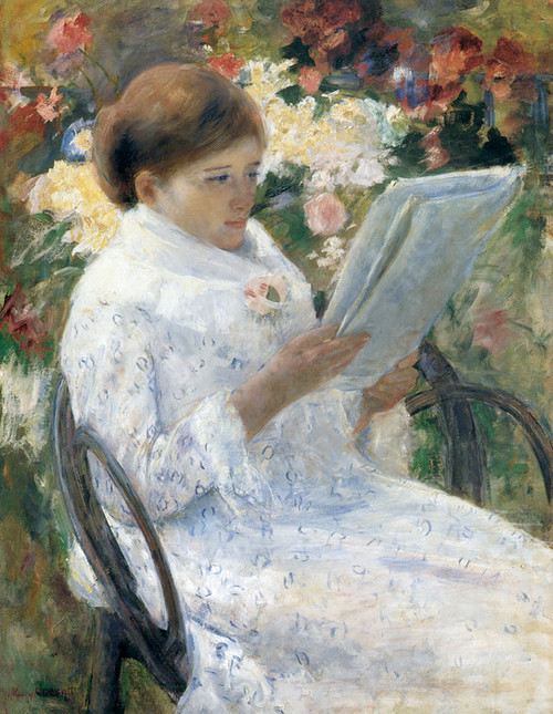 Art Prints of Woman Reading in a Garden by Mary Cassatt