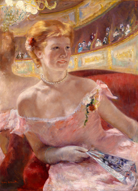 Art Prints of Woman with a Pearl Necklace in a Loge by Mary Cassatt