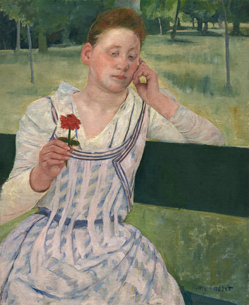 Art Prints of Woman with a Red Zinnia by Mary Cassatt