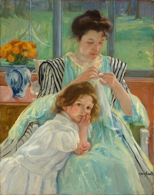 Art Prints of Young Mother Sewing by Mary Cassatt