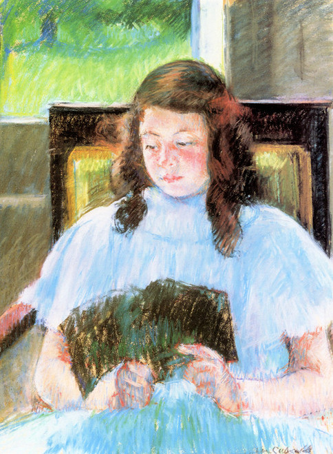 Art Prints of Young Girl Reading by Mary Cassatt