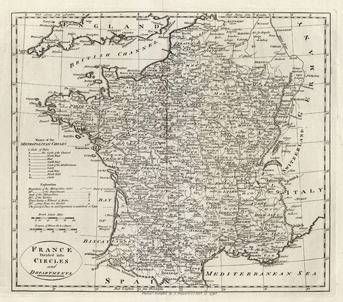Art Prints of France Divided into Circles and Departments (2862012) by Mathew Carey