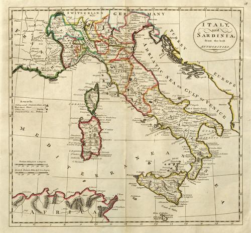Art Prints of Italy and Sardinia, 1814 (4577048) by Mathew Carey