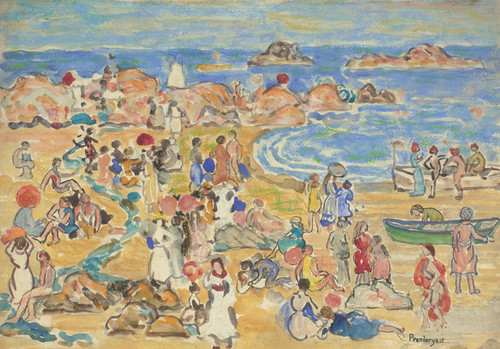 Art Prints of A View Along the New England Coast by Maurice Prendergast
