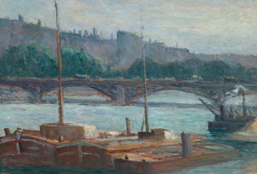Art Prints of Barges on the Seine by Maximilien Luce