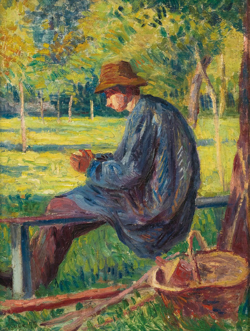 Art Prints of Ludovic Rodo Pissarro in the Garden of His Fathe by Maximilien Luce