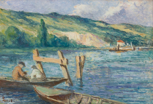 Art Prints of Rolleboise, Fishermen on the Seine by Maximilien Luce