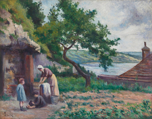 Art Prints of Rolleboise, Laundry in the Luce Garden by Maximilien Luce