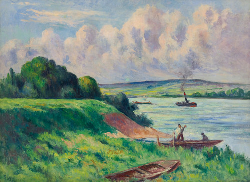 Art Prints of Rolleboise, Tug Boats on the River by Maximilien Luce