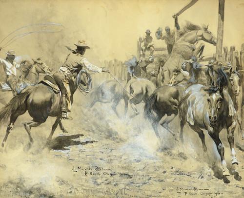 Art Prints of Wild Range Horses in the Corral, 1901 by Maynard Dixon