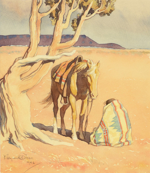 Art Prints of Seated Indian with Horse by Maynard Dixon