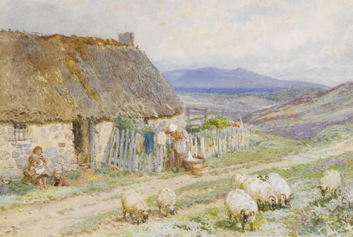 Art Prints of A Cottage near Ballater, Scotland by Myles Birket Foster