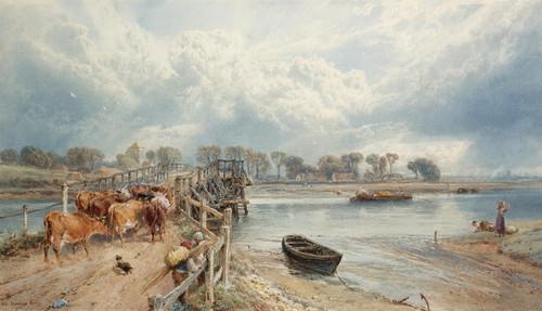 Art Prints of Old Shoreham Bridge, Sussex by Myles Birket Foster