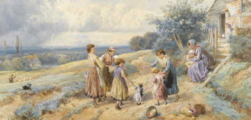Art Prints of Teaching Dolly to Walk by Myles Birket Foster
