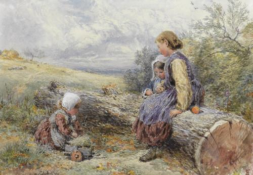 Art Prints of The Woodcutter's Children by Myles Birket Foster