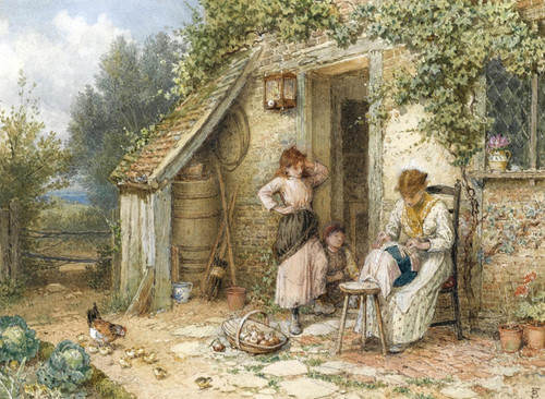 Art Prints of The Lace Maker by Myles Birket Foster