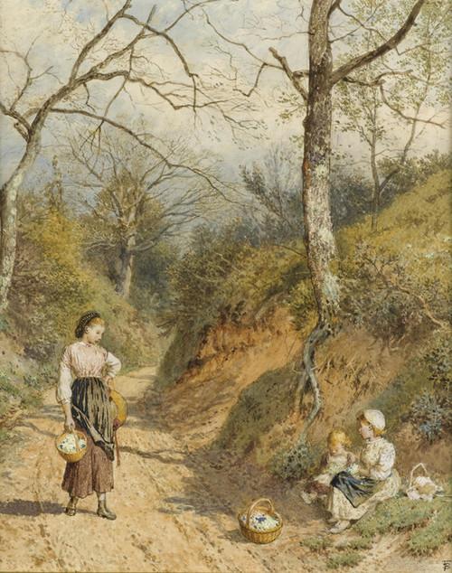 Art Prints of The Primrose Gatherers by Myles Birket Foster