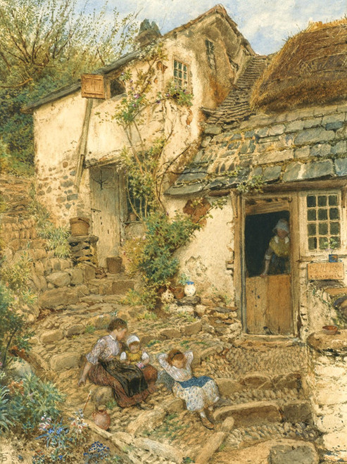 Art Prints of Young Girls Resting on the Steps by Myles Birket Foster
