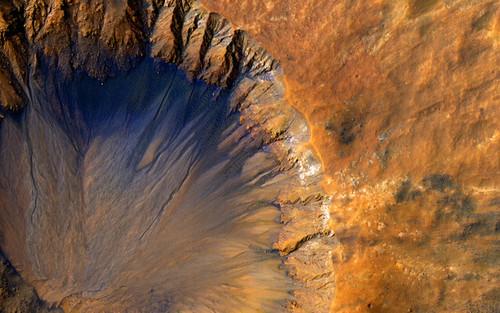 Art Prints of A Fresh Crater near Sirenum Fossea by NASA