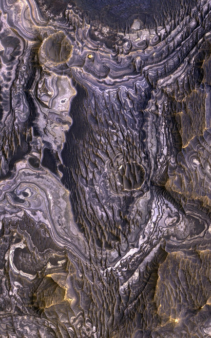 Art Prints of Bright Layered Deposits by NASA