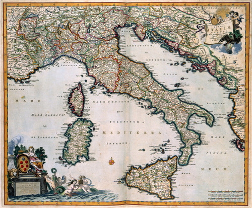 Art Prints of Map of Italy, 1681 (484) by Nicolaes Visscher