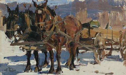 Art Prints of Team and Wagon by Nicolai Fechin