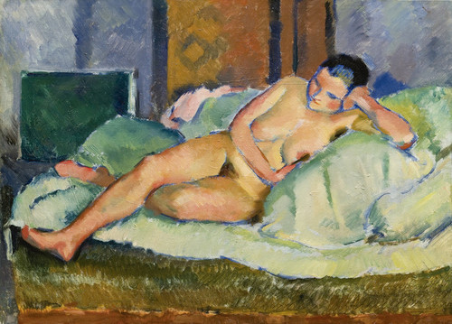 Art Prints of Nude Model on Green by Nikolai Andreevich Tyrsa