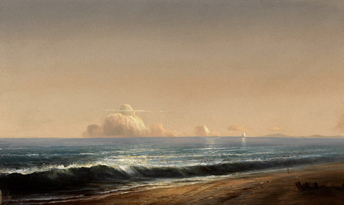 Art Prints of Calm Day on the Shore with Clouds in the Distance by Norton Bush
