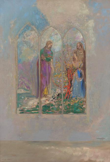 Art Prints of Devotion Near a Red Bush by Odilon Redon