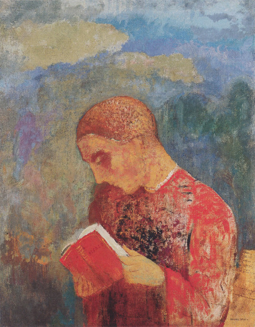Art Prints of Elsass Oder Lesender Monch by Odilon Redon