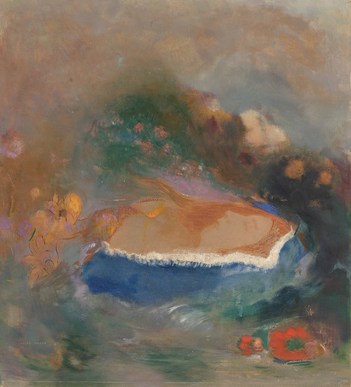 Art Prints of Ophelia, the Blue Cloak on the Waters by Odilon Redon