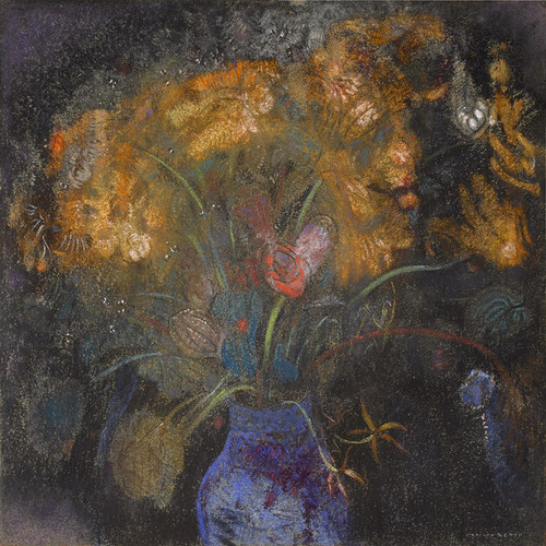 Art Prints of Orange Flowers in a Blue Vase on Black by Odilon Redon
