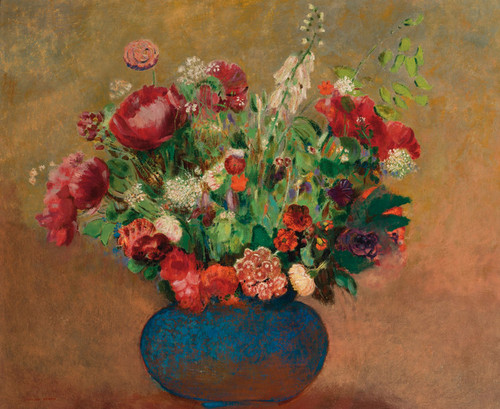 Art Prints of Poppies and Carnation in a Blue Vase by Odilon Redon