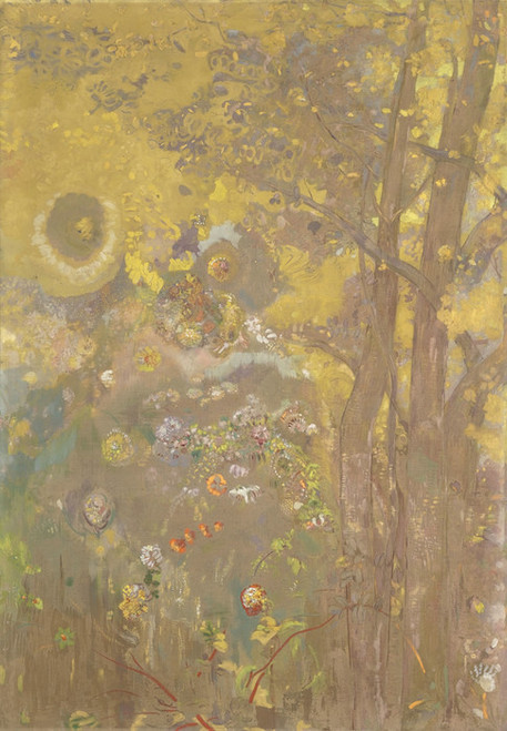 Art Prints of Trees on a Yellow Background by Odilon Redon