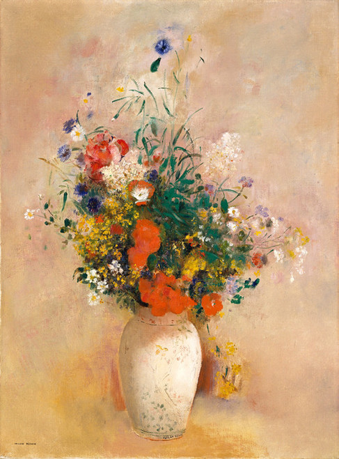 Art Prints of Vase of Flowers with Pink Background by Odilon Redon