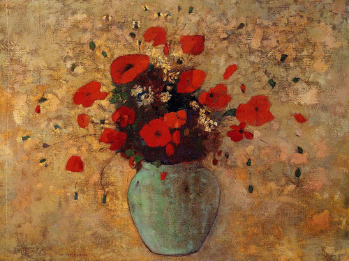 Art Prints of Vase of Poppies by Odilon Redon