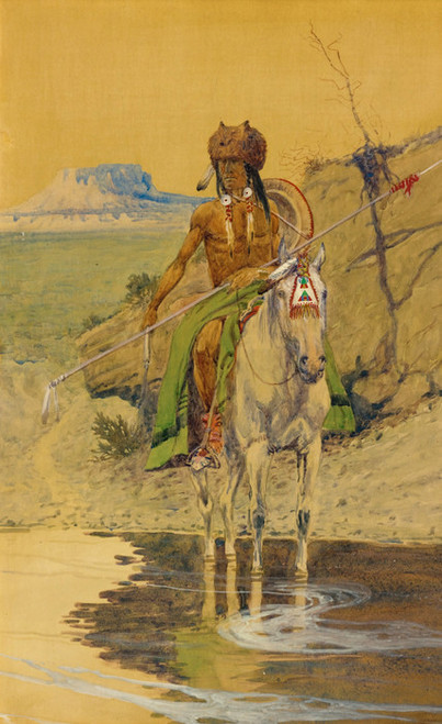 Art Prints of Warrior at the Watering Hole by Olaf Carl Seltzer