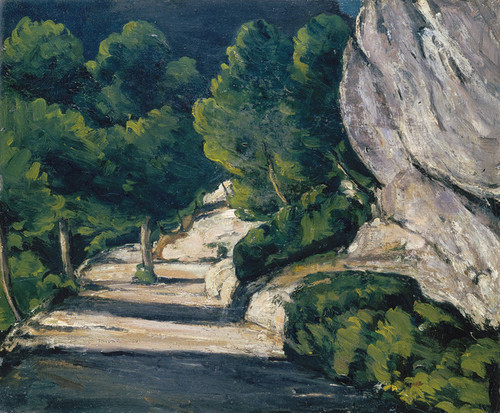 Art Prints of Landscape Road with Trees in Rocky Mountains by Paul Cezanne
