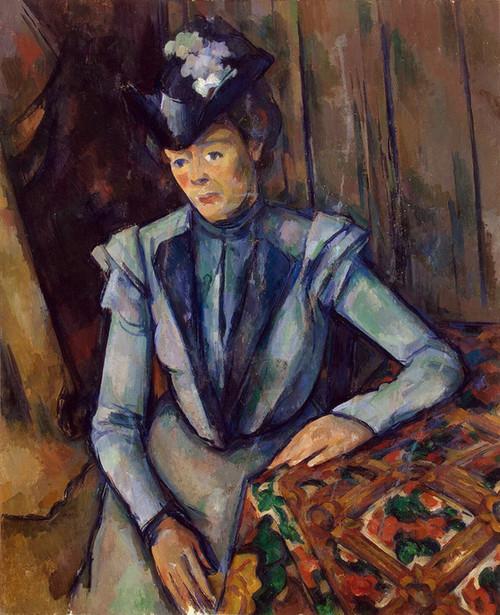 Art Prints of Portrait of a Lady in Blue by Paul Cezanne