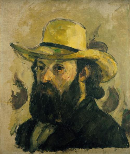 Art Prints of Self Portrait in a Straw Hat by Paul Cezanne