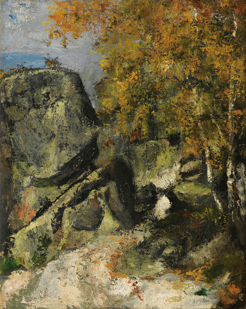 Art Prints of Rocks in the Forest, Fontainebleau by Paul Cezanne