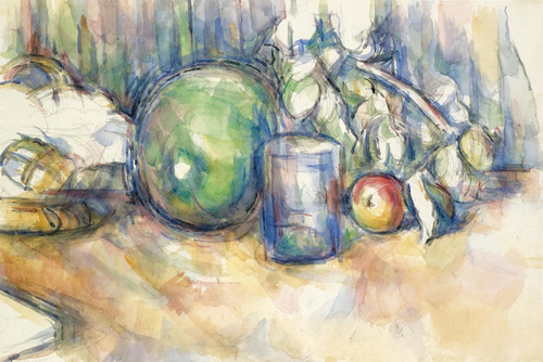 Art Prints of Still Life with Green Melon by Paul Cezanne